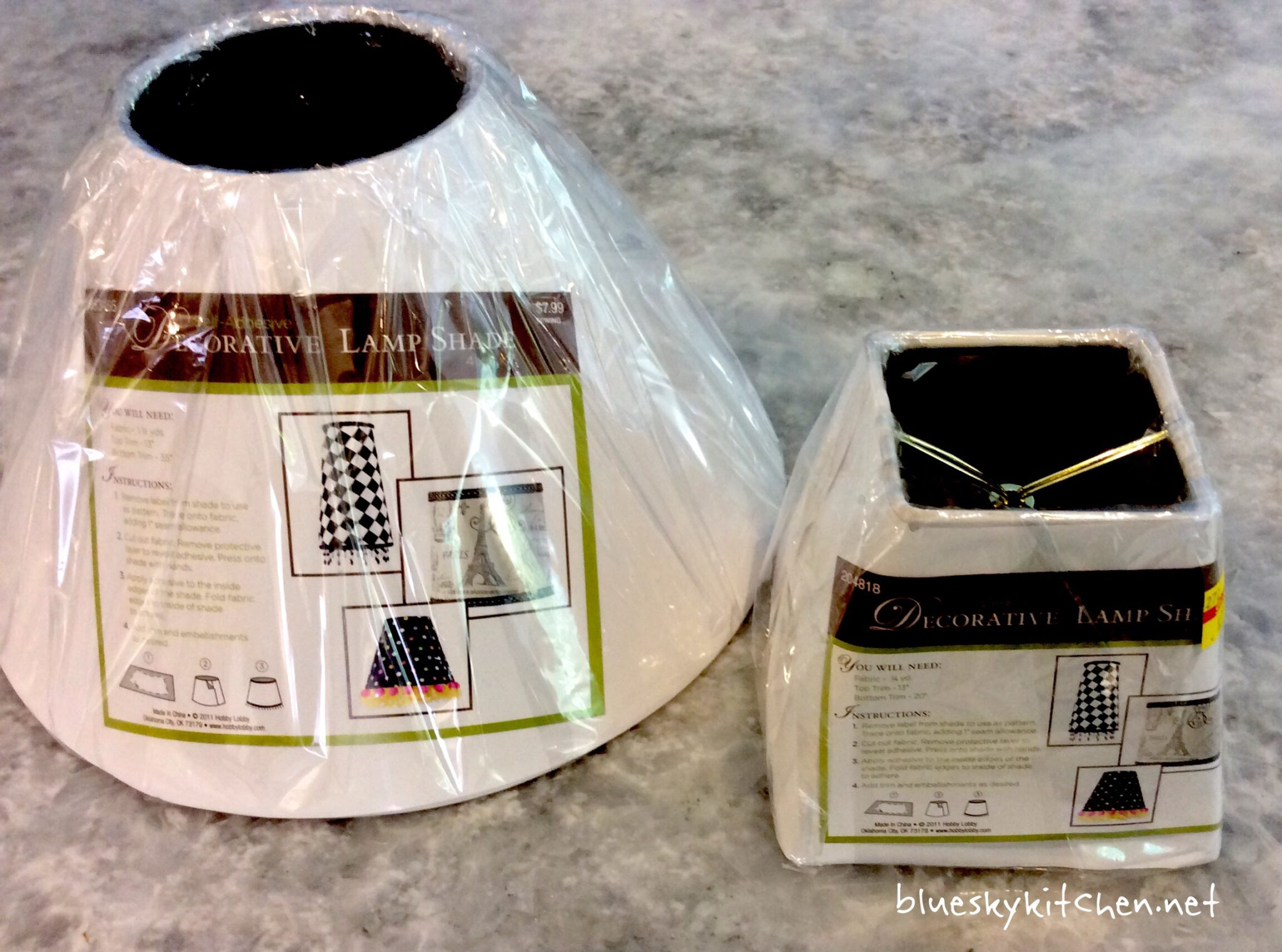 Self Adhesive Lamp Shade Kit : How to reinvent a lamp with paint and fabric bluesky at home
