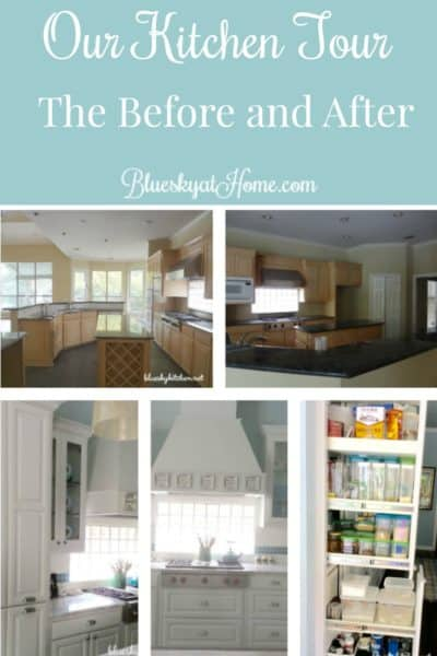 Our Kitchen Tour ~ The Before and After. A tour of our kitchen remodel with before and after photos, focusing on placement of cabinets, drawers, and appliances. BlueskyatHome.com
