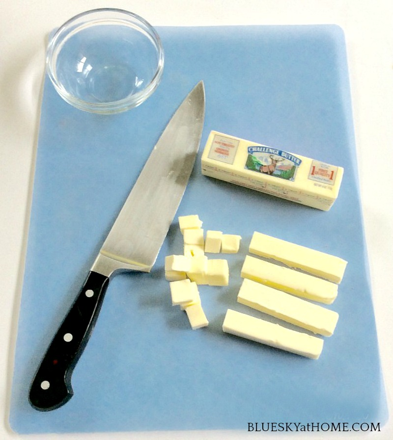 dicing butter and knife