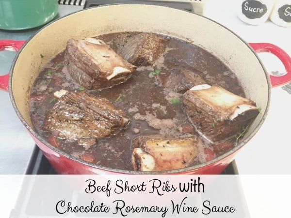 Beef Short Ribs with Chocolate Rosemary Wine Sauce is a delicious and impressive entrée for a Christmas dinner party. Easy prep and make ahead dish.