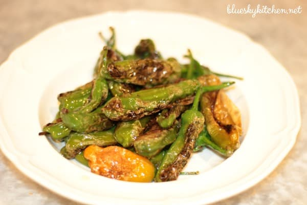 Skillet~Seared Shishito Peppers