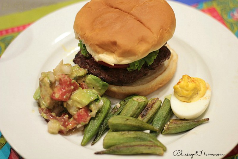 grilled okra with hamburger