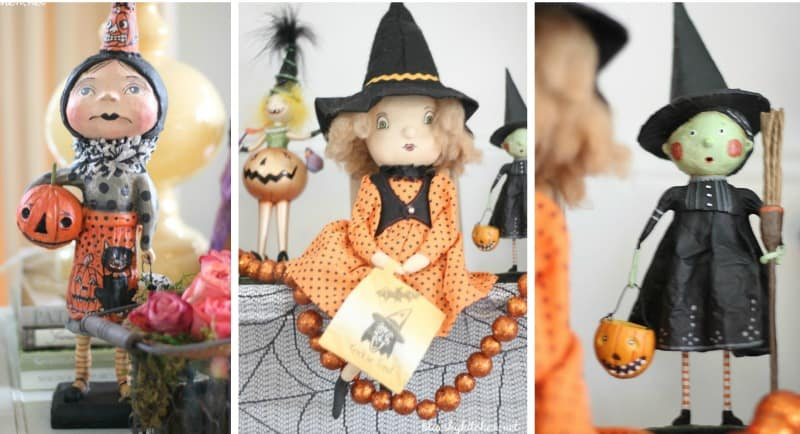 Halloween Decorations with Witches and Scarecrows for the spooky season. Decorating your home for Halloween is fun for everyone. BlueskyatHome.com