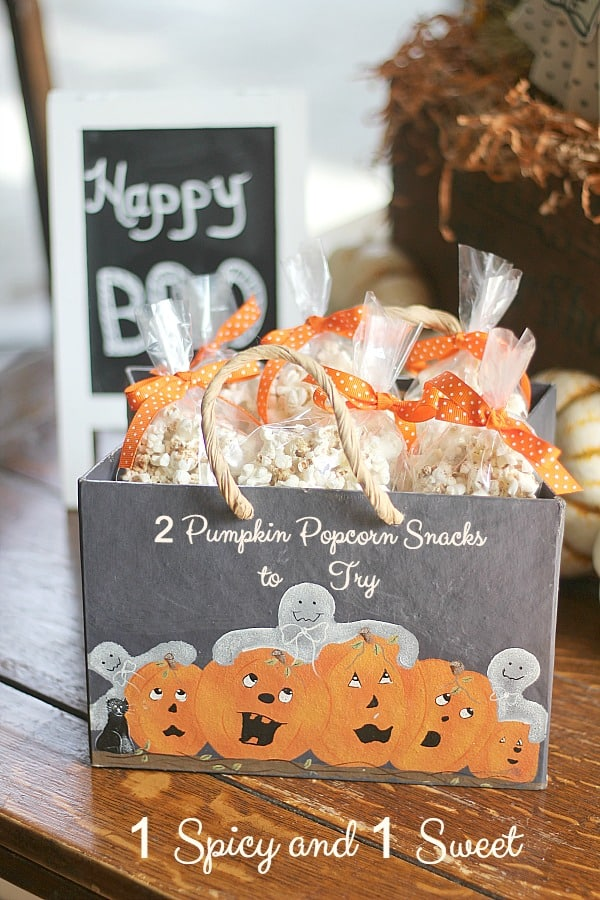 2 Pumpkin Popcorn Snacks to Try ~ 1 Spicy and 1 Sweet; one for adults watching football games and one for trick or treats on Halloween.