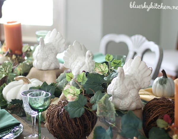 Pumpkins, Turkeys and Autumn Flowers on My Thanksgiving Table. A tour of how I transitioned our dining table from fall to Thanksgiving.