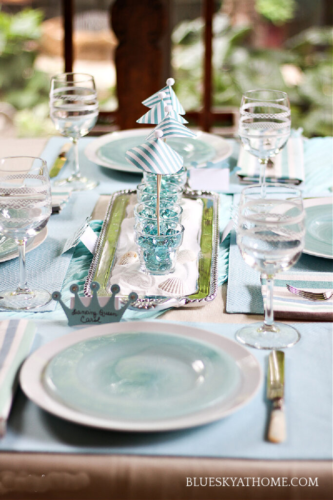 for Mamma Mia! tablescape with place settings