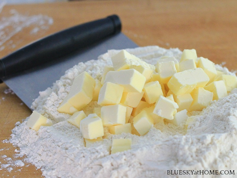 diced butter and flour