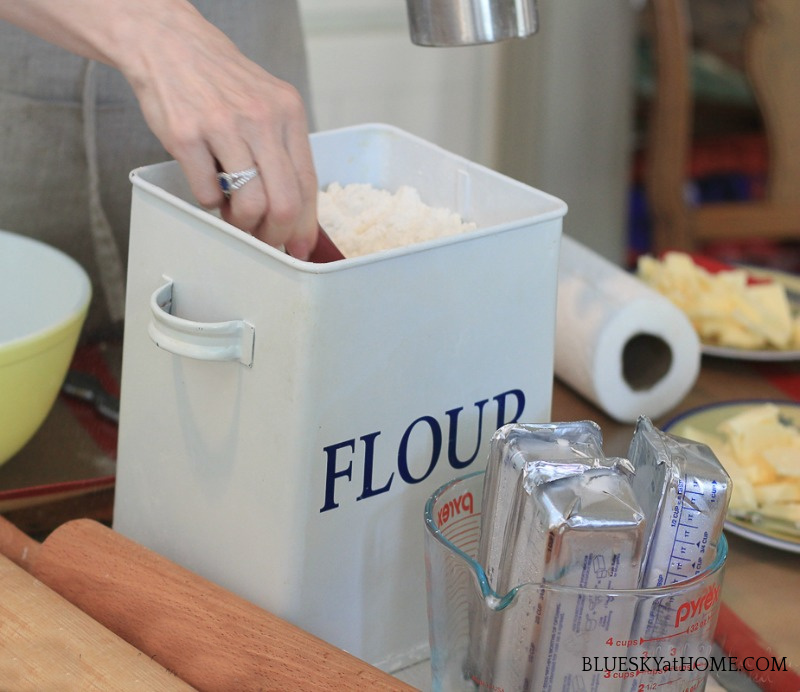 container of flour