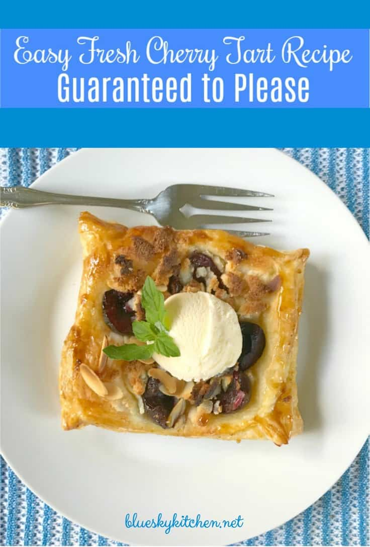 Easy Fresh Cherry Tart Recipe Guaranteed to Please. This pretty cherry tart dessert uses puff pastry and is so easy your kids can help you make it.