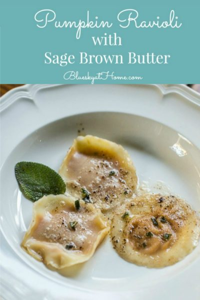 Pumpkin Ravioli with Sage Brown Butter Appetizer ~ delicious and impressive little morsel packed with flavor. Great dish for entertaining. Easy appetizer. BlueskyatHome.com #appetizer #pupkinappetizer #pumpkinrecipe #easyappetizer