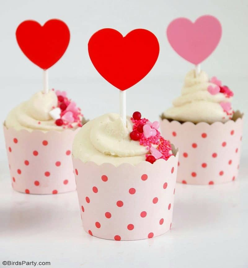 Valentine cupcakes with red hearts
