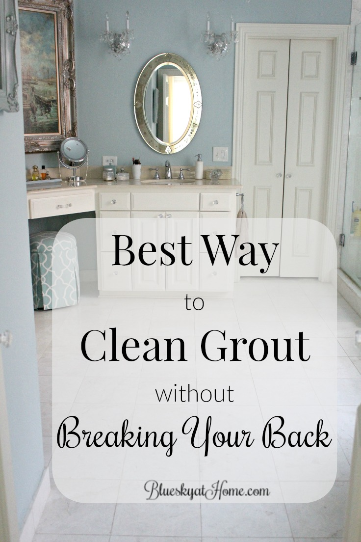 Best Way to Clean Grout Without Breaking Your Back. Want a clean bathroom floor without breaking your back on your hands and knees? See how to clean a bathroom floor quickly and easily with the HomeRight Steam Machine. BlueskyatHome.com #homeright #cleanbathroom #bathroomfloors #cleaninggrout #steammachine