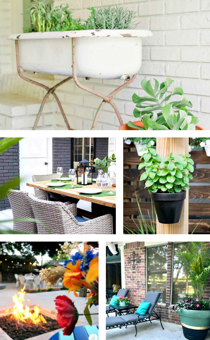 5 Creative DIY Backyard Makeovers to Inspire You. Designing our outdoor spaces is like designing a house: flooring, seating, lighting and accessories have to work together to create a space that functions for family and entertaining. BlueskyatHome.com #backyardideas #backyardmakeovers #DIYbackyards #DIYoutdoorspaces