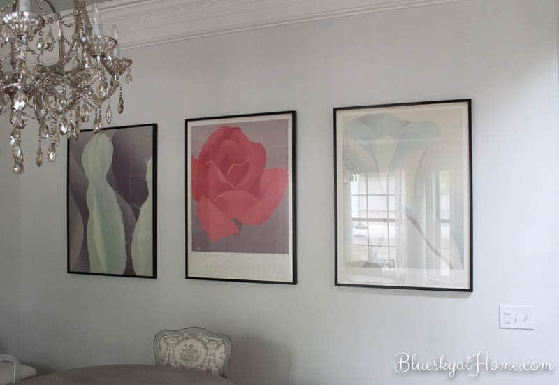 Amazing Accessories for a Dining Room Makeover ~ ORC Week 5. See how art gives life and color to any space, but especially this updated dining room. Drapes create a fresh look for a bay window. BlueskyatHome.com