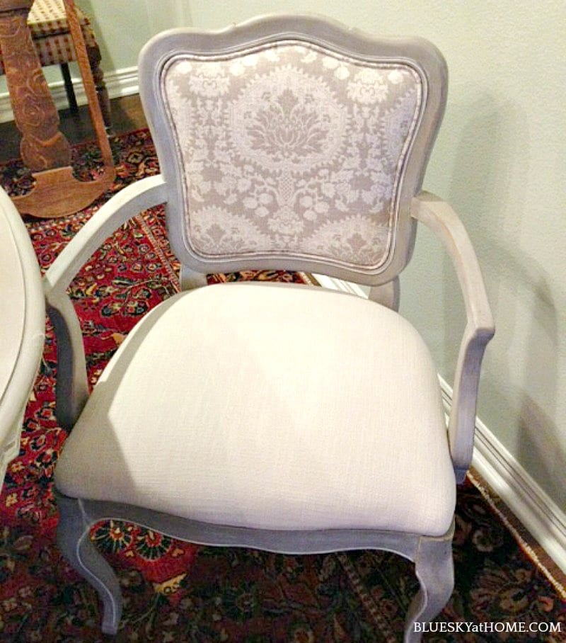 dining room chair in cream fabric and grey wood
