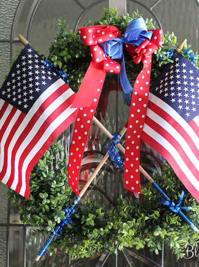 New 4th of July Decorations and Some Oldie Goldies. A wreath, stickers, a banner, centerpieces. BlueskyatHome.com #diydecorations #July4th #decorations