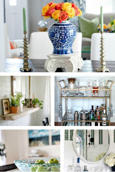 5 Divine Dining Room Makeovers ~ An ORC Round~Up. Dining rooms show classic and creative design ideas. BlueskyatHome.com #diningroom #diningroommakeovers