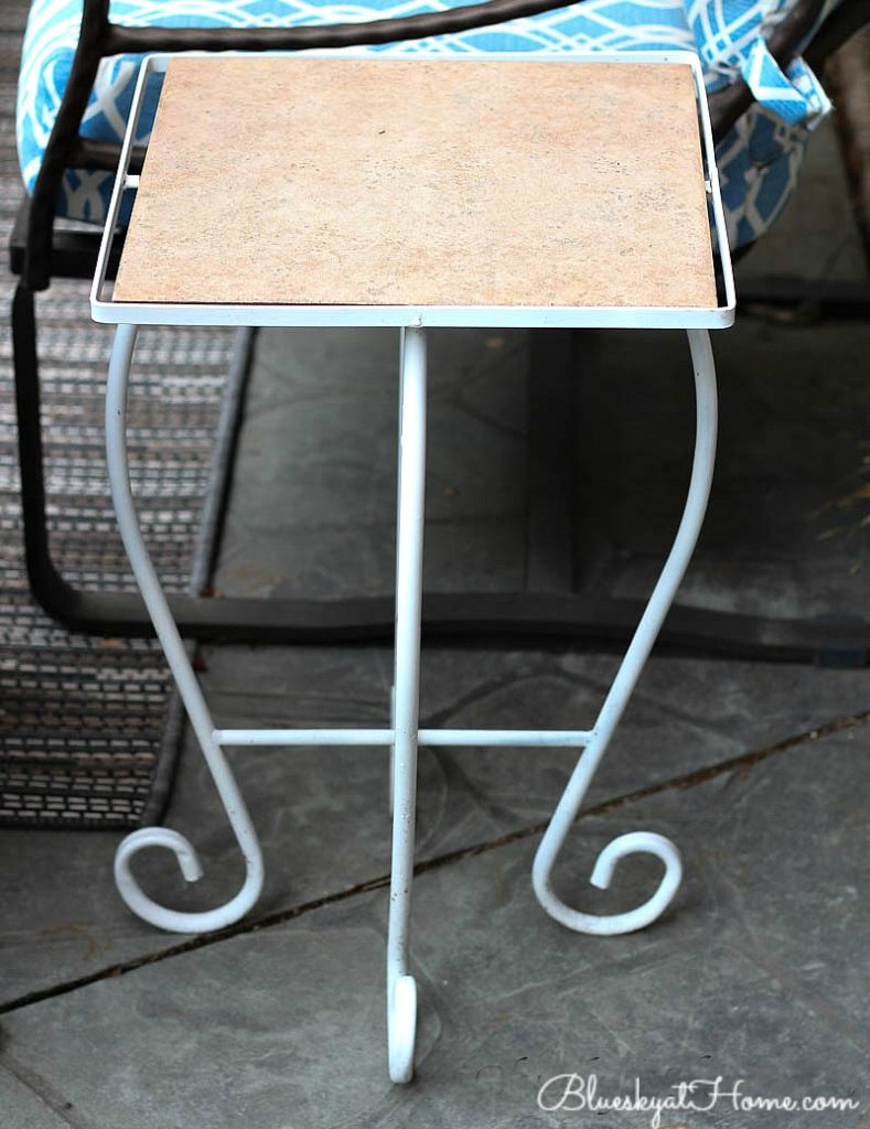 white metal side table iwth tile top