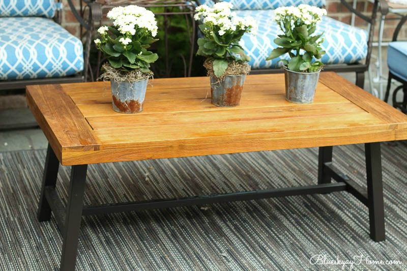 wood and metal rectangle patio coffee table