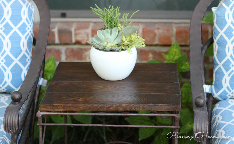 new stained table top with succulent pot