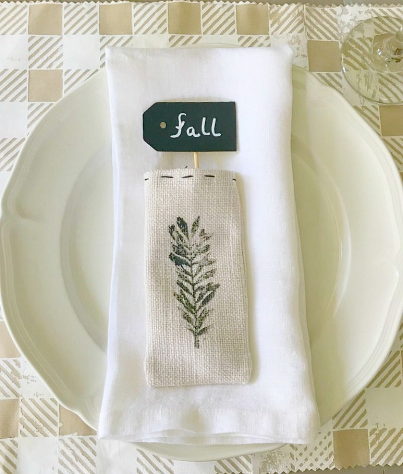 utensil pouch with wood sign