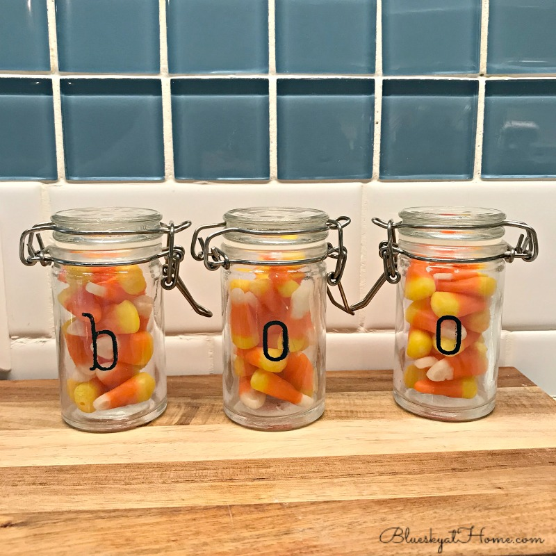 book jars with candy corn