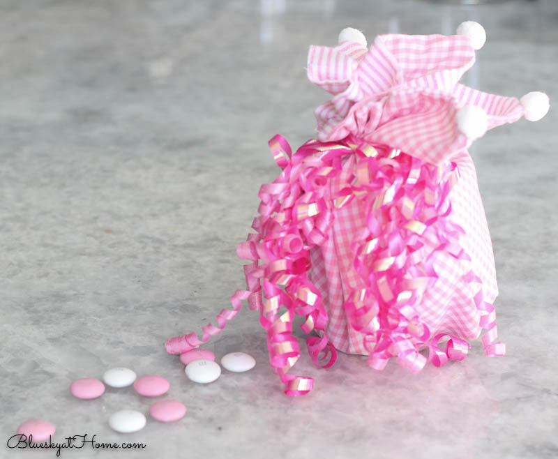 pink napkin wrapped Valentine's gift