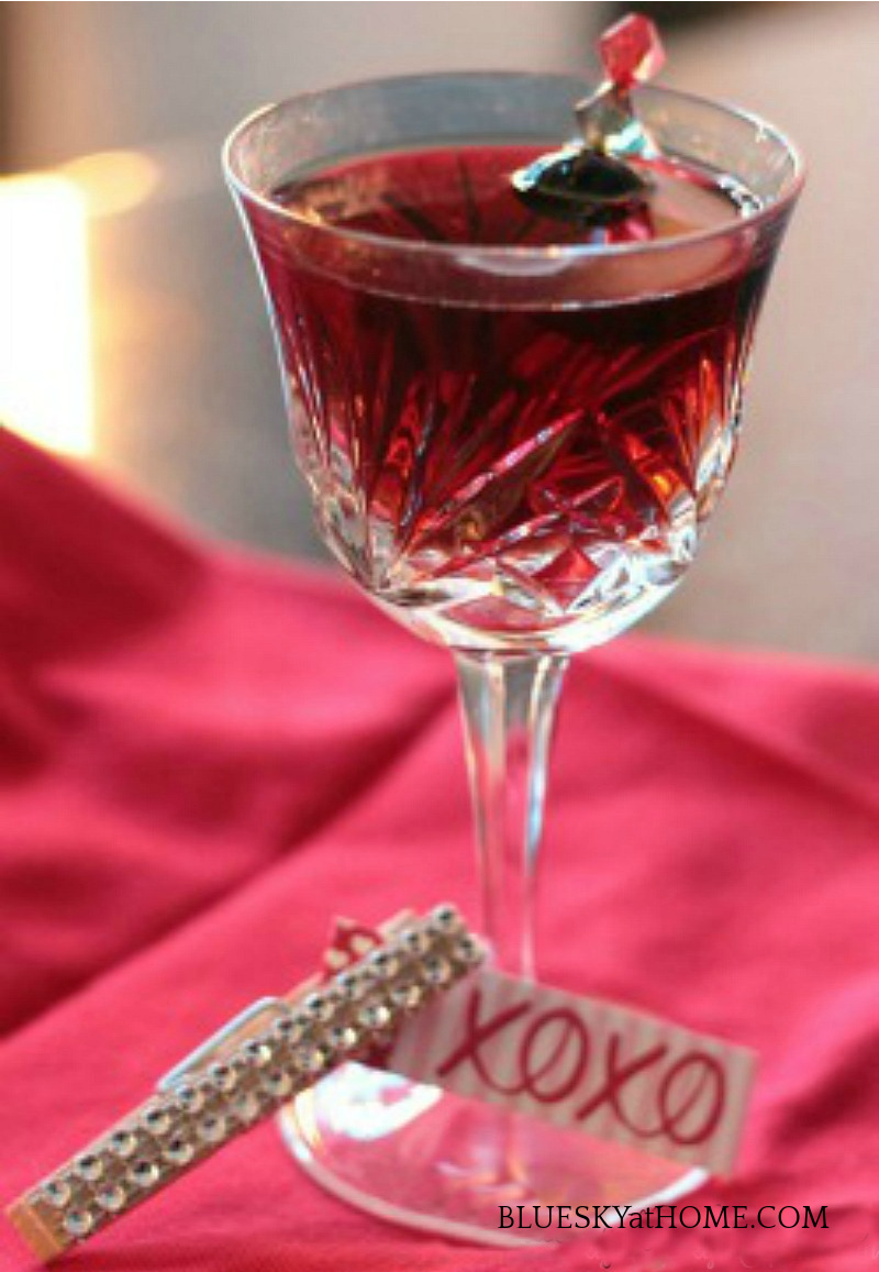 red Valentine's cocktail in crystal glass