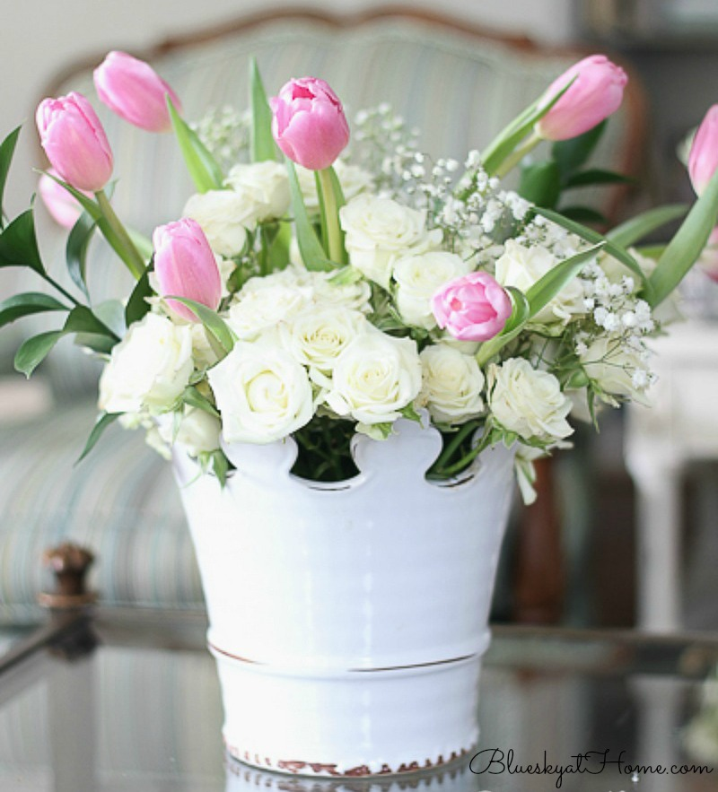 pink tulips and white roses