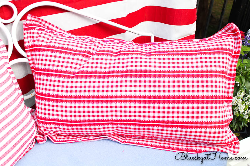 red and white check pillow