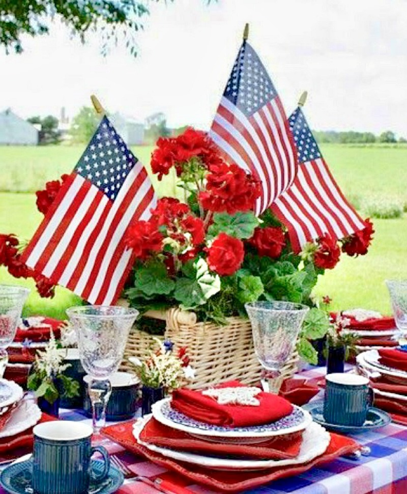 Memorial Day centerpiece with American flags