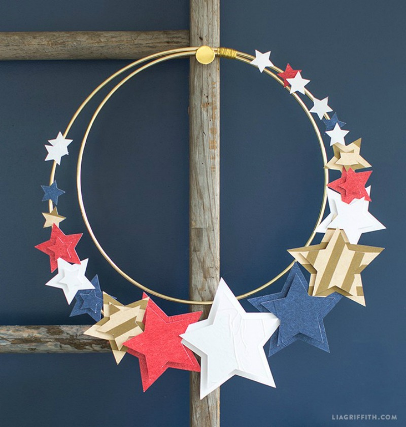 Memorial day red white and blue start wreath
