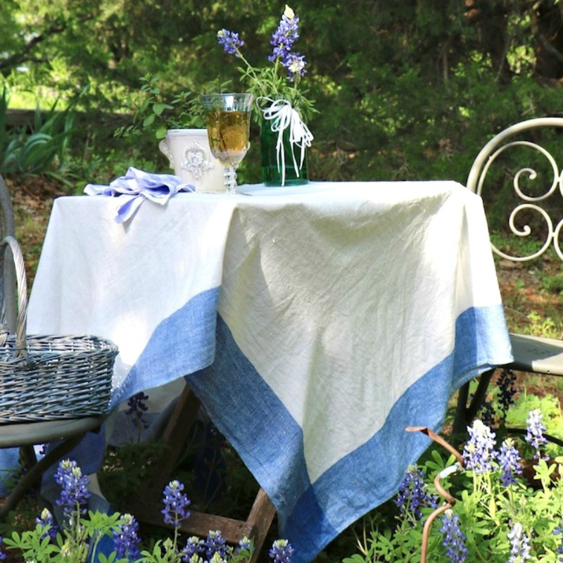 blue and white garden table