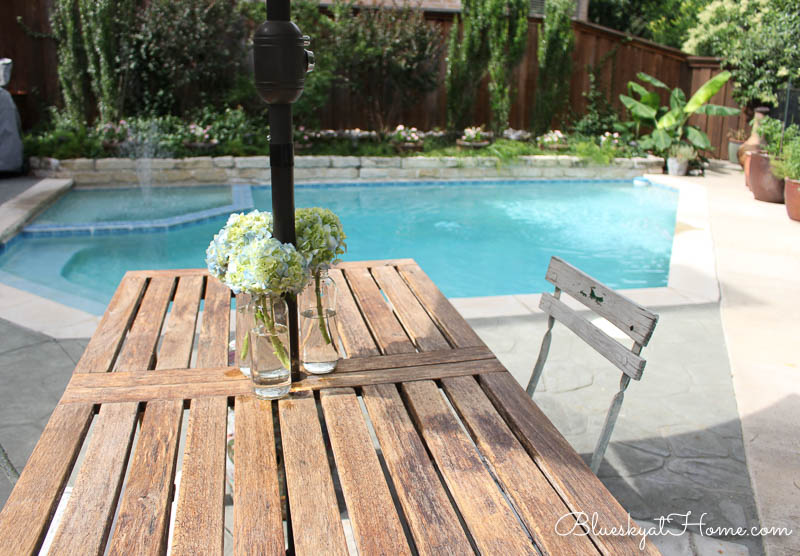 patio table and pool