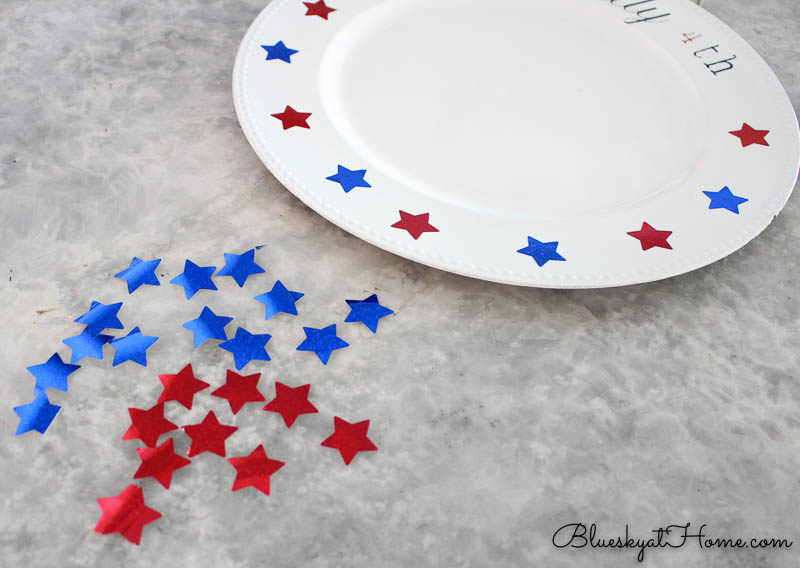 DIY project with white charger and red and blue stars