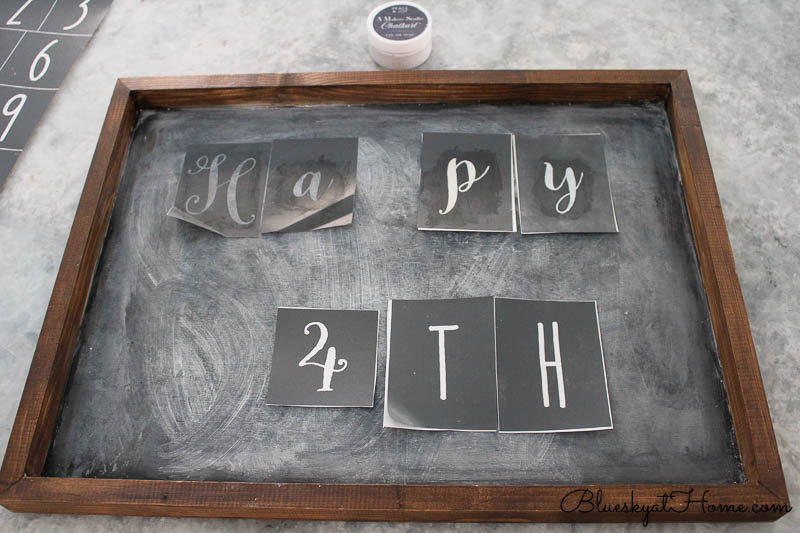 stencils on 4th of July sign
