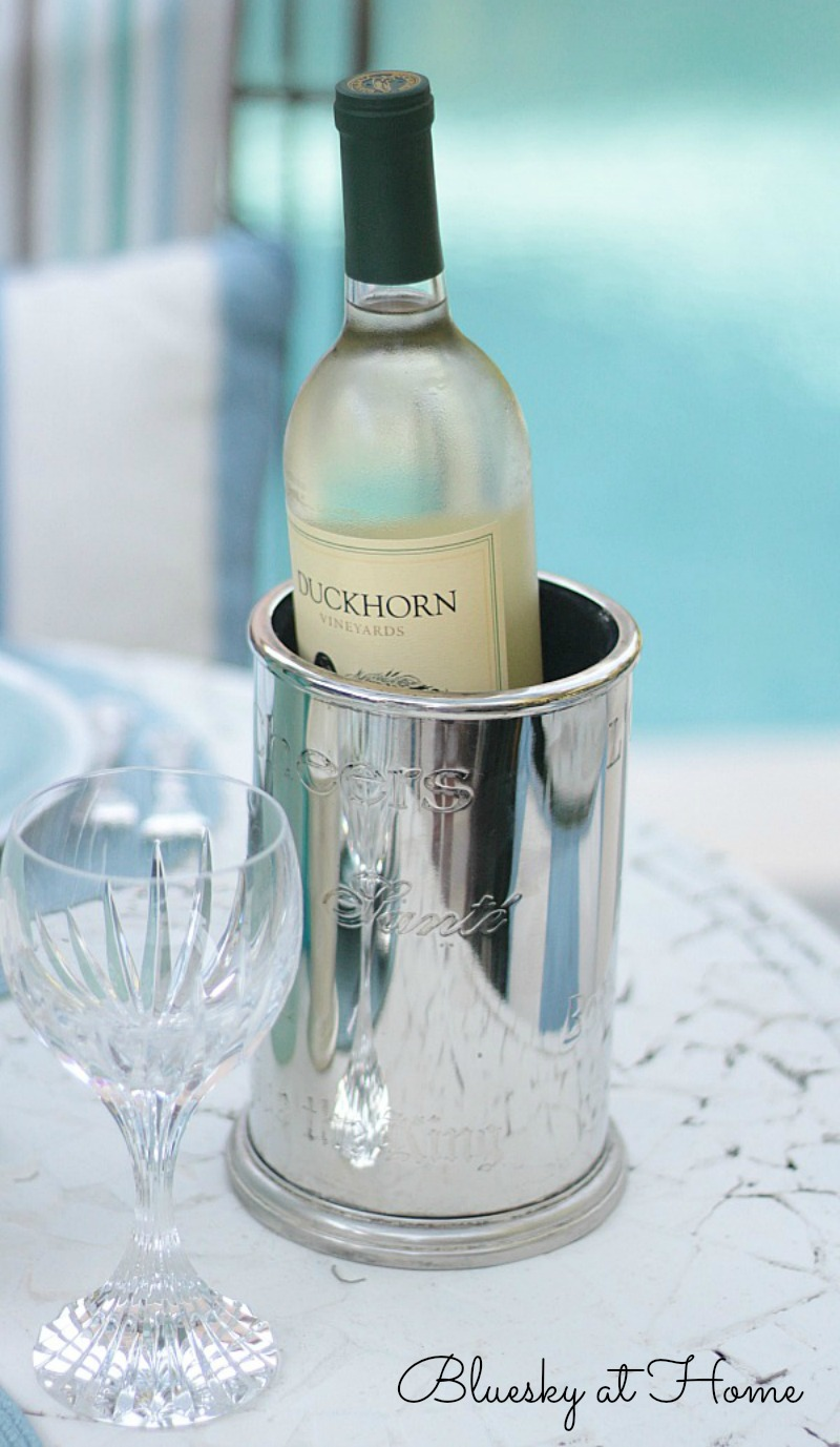 white wine in cooler