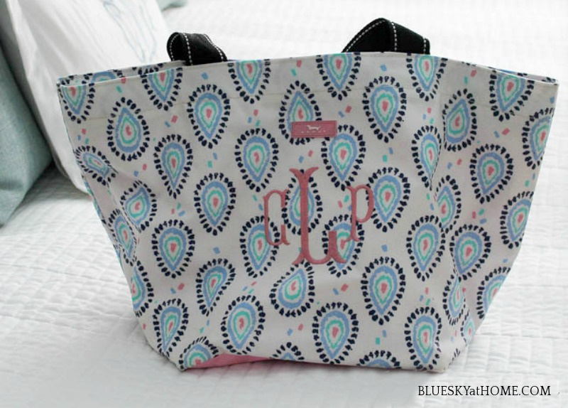 monogrammed tote in pink and blue