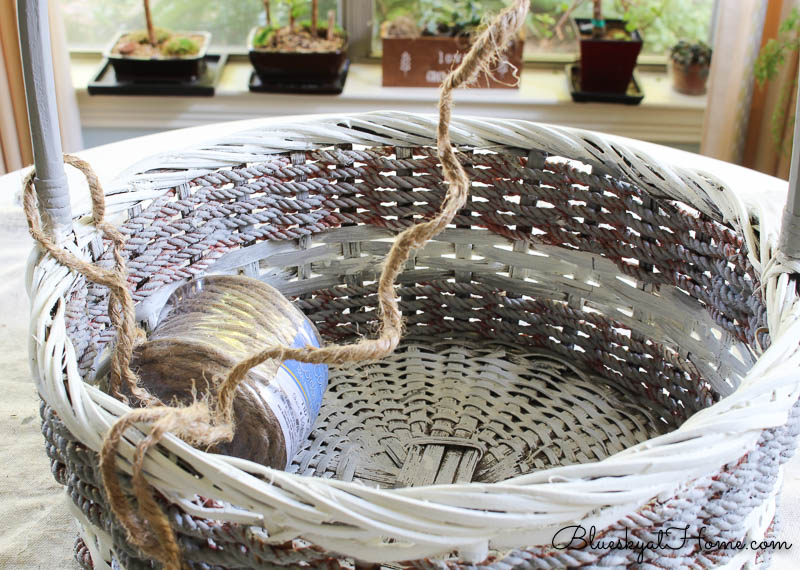 wrapping estate sale basket handle with jute