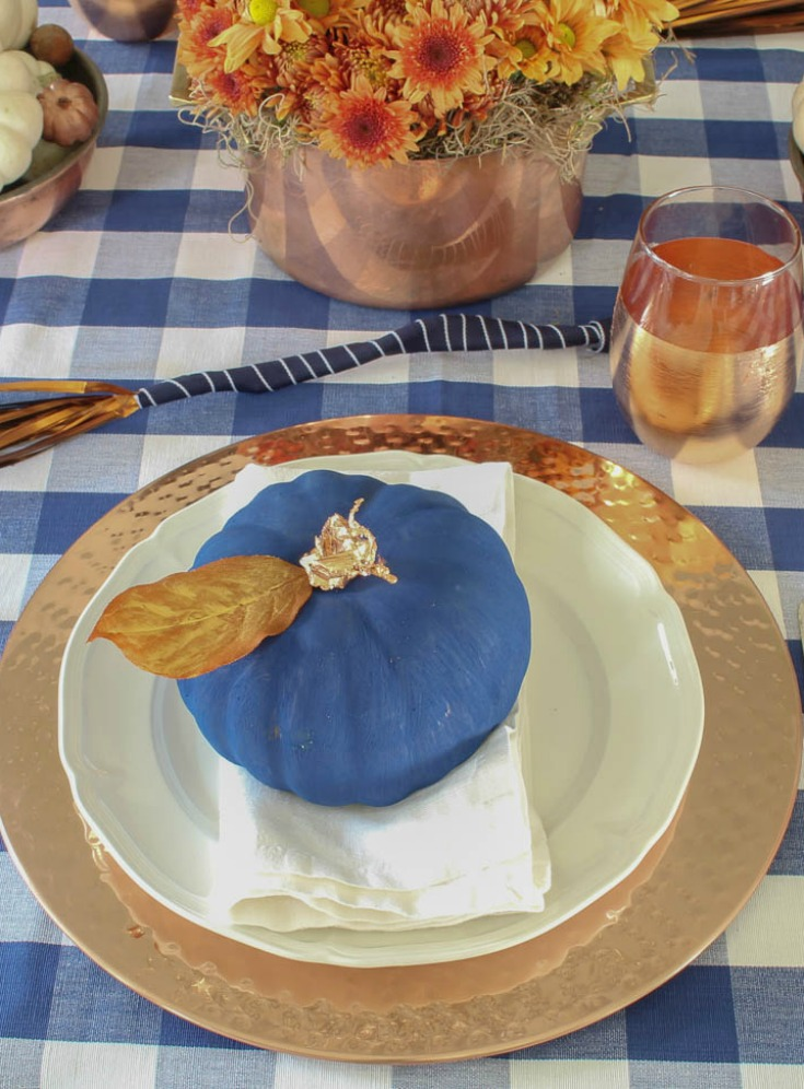 navy and copper fall place setting