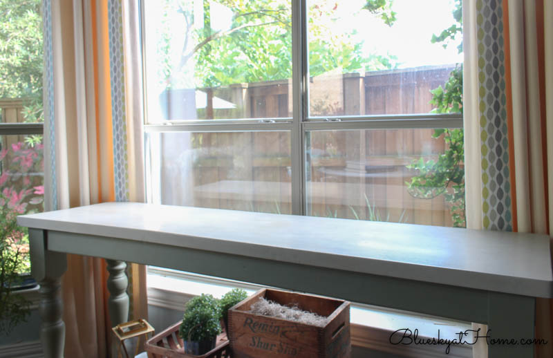 console table in front of window