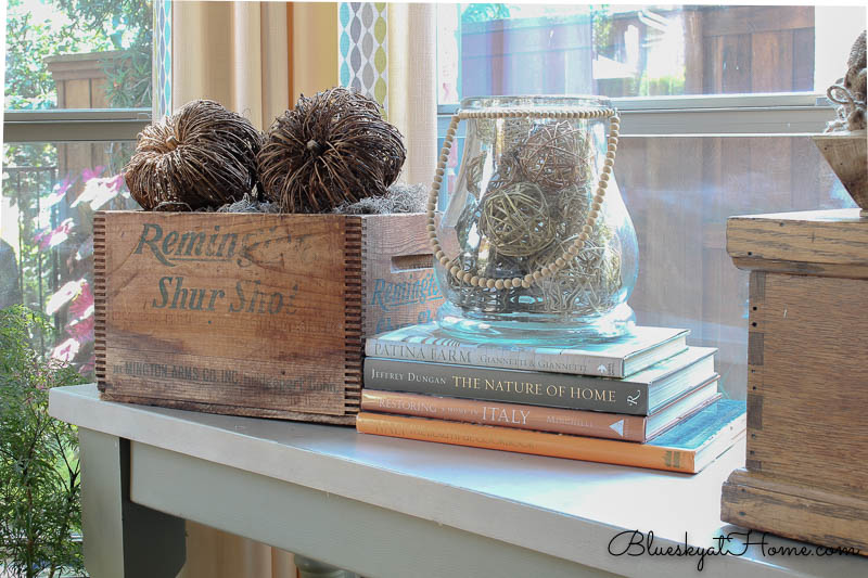 reused vintage box with glass jar with bead handle