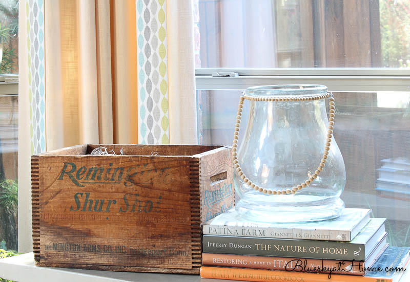 reused wood box with glass jar