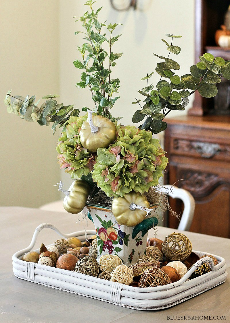vintage vase decorated for fall decor