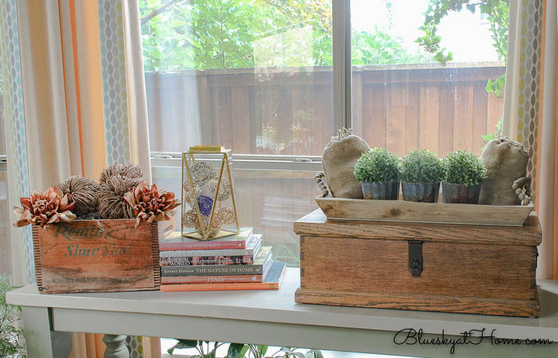restyled console table with reused items