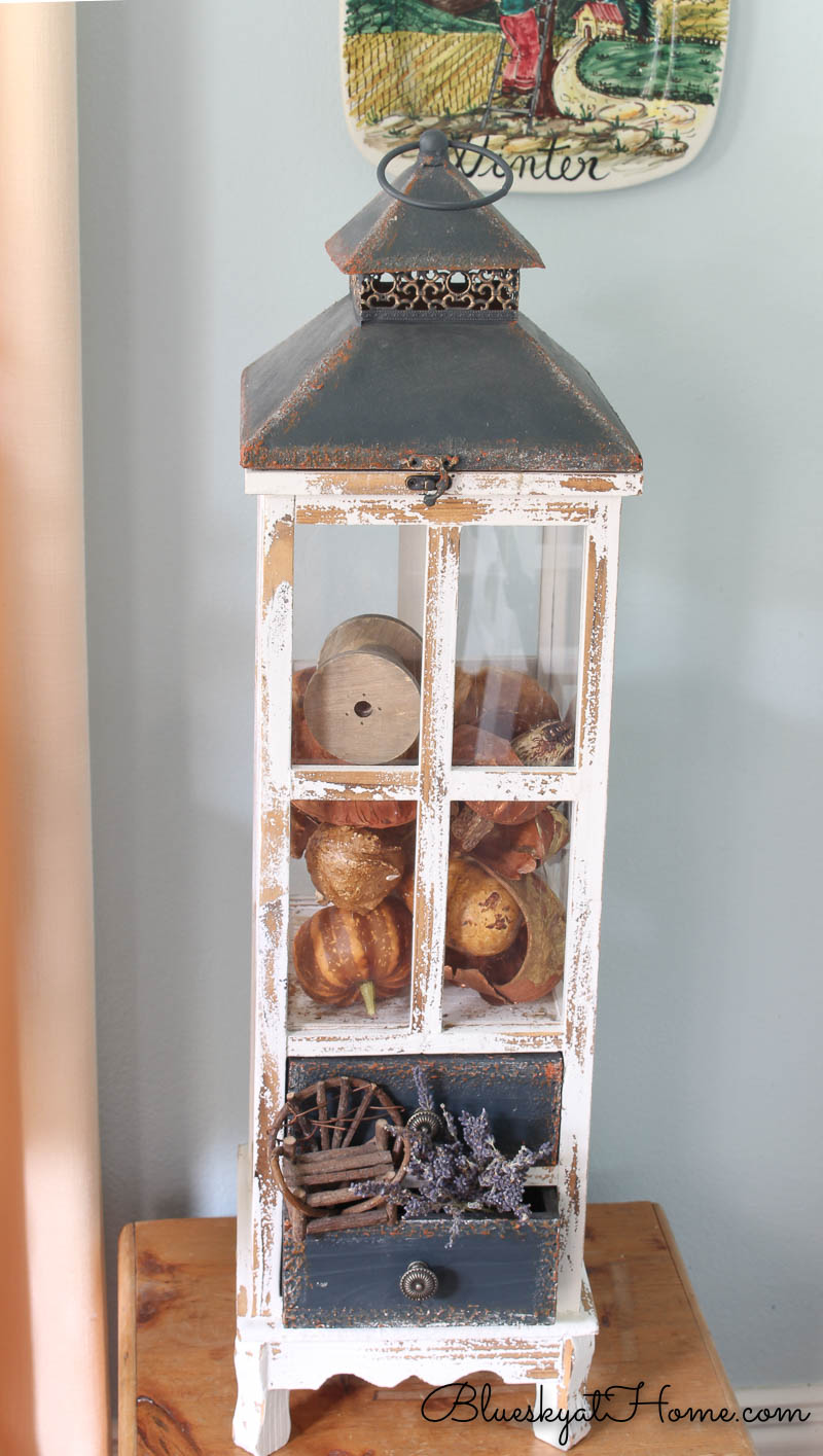 restyle reuse vintage lantern with faux gourds