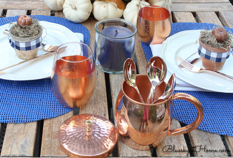 fall patio tablescape copper mug with spoons