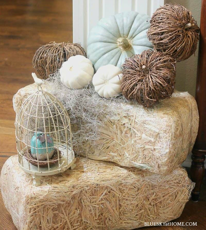 hay bales decorated for fall decor