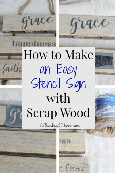 easy stencil sign with scrap wood graphic
