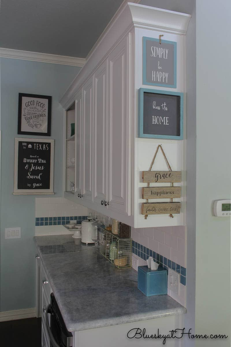 stenciled signs on wood